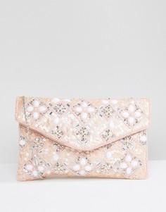 Клатч с отделкой бисером True Decadence - Розовый