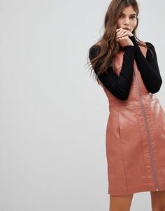 Платье из искусственной кожи на молнии Vero Moda - Черный