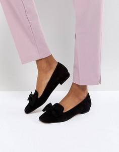 Замшевые туфли на плоской подошве с бантом Dune London Graciano - Черный