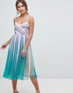 Приталенное платье миди со свободной юбкой в стиле колор блок ASOS - Мульти