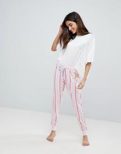 Длинная пижама в полоску Cheslea Peers - Розовый