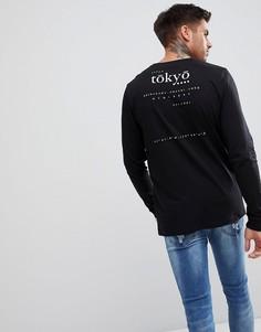 Лонгслив с принтом Tokyo ASOS - Черный