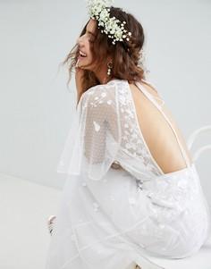Платье макси из сетки добби с цветочной вышивкой и рукавами клеш ASOS EDITION - Белый