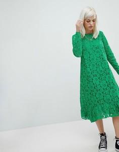 Свободное кружевное платье миди ASOS - Зеленый