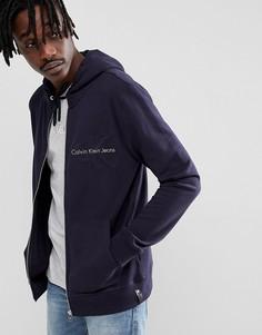 Худи на молнии с логотипом на груди Calvin Klein Jeans - Темно-синий