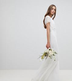 Платье макси с глубоким вырезом и кружевной отделкой Amelia RoseTall - Белый