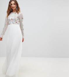 Платье макси с плиссированной юбкой и 3D-аппликацией Frock And Frill Premium - Белый