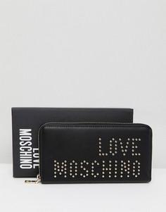 Кошелек на молнии с логотипом и заклепками Love Moschino - Черный