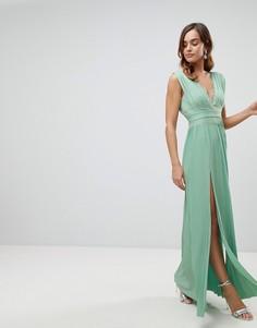 Платье макси с кружевной отделкой и плиссировкой ASOS Premium - Зеленый