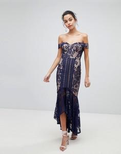 Кружевное платье макси с открытыми плечами Jarlo - Темно-синий