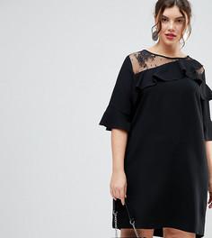 Платье с кружевными вставками River Island Plus - Черный