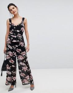Комбинезон с широкими штанинами и цветочным принтом Y.A.S - Мульти