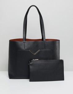 Сумка для покупок с передним карманом и клатчем-вкладышем ASOS - Черный