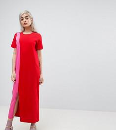 Платье-футболка макси в стиле колор блок ASOS PETITE - Мульти