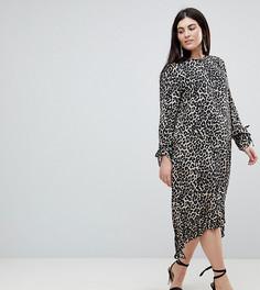 Платье миди с баской и леопардовым принтом ASOS CURVE - Мульти
