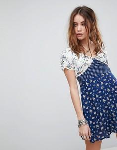 Чайное платье в горошек с цветочным принтом Kiss The Sky - Мульти