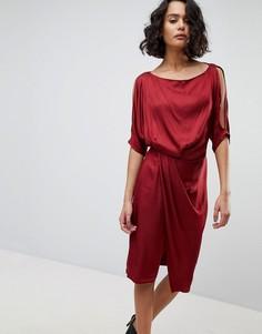 Платье со свободным воротом AllSaints - Красный