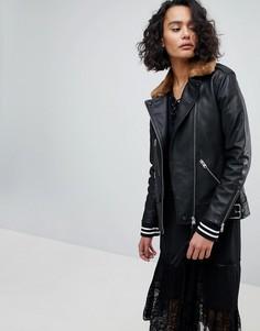 Кожаная oversize-куртка с воротником из искусственного меха AllSaints - Черный