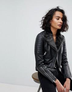 Стеганая кожаная куртка с меховым воротником AllSaints - Черный