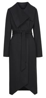 Приталенное пальто из вирджинской шерсти и кашемира с поясом Elema