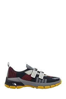 Текстильные кроссовки с узором Prada