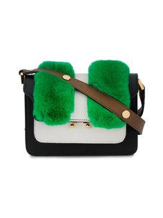 маленькая сумка на плечо с панелью из кроличьего меха Trunk Marni