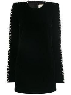 бархатное платье с кристаллами Saint Laurent