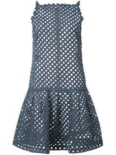 джинсовое платье с перфорацией  Oscar de la Renta