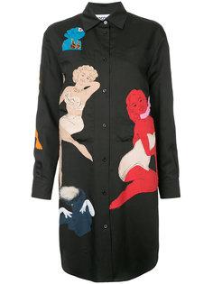 платье-рубашка с аппликациями в стиле пин-ап Moschino