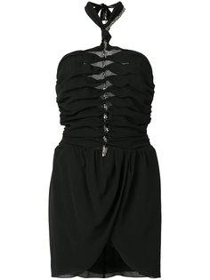 декорированное платье с вырезом-петлей халтер Saint Laurent