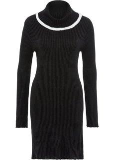 Платье вязаное с воротником (черный/белый) Bonprix