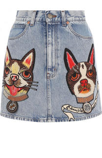 Джинсовая мини-юбка с вышивкой Gucci