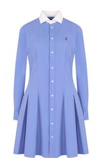 Приталенное хлопковое платье-рубашка Polo Ralph Lauren