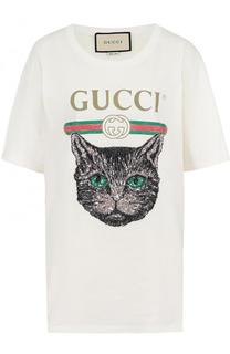 Хлопковая футболка с принтом и пайетками Gucci