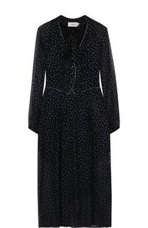 Приталенное платье-миди с воротником аскот Coach