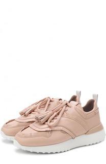Кожаные кроссовки с бахромой на массивной подошве Tod's