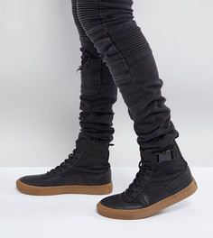 Черные высокие кроссовки для широкой стопы с каучуковой подошвой ASOS - Черный