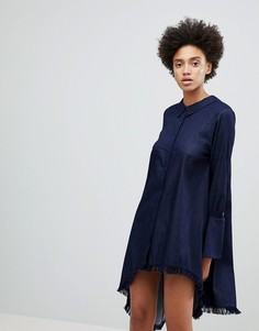 Асимметричное платье-рубашка N12H Early On - Темно-синий