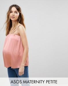 Топ на тонких бретельках с кольцами ASOS Maternity PETITE - Розовый