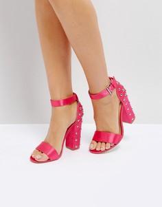 Босоножки на блочном каблуке с заклепками Truffle Collection - Розовый