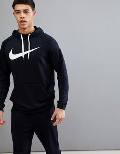 Худи черного цвета с логотипом-галочкой Nike Training Dry 885818-010 - Черный