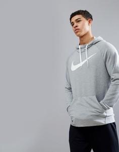 Худи серого меланжевого цвета с логотипом-галочкой Nike Training Dry 885818-063 - Серый