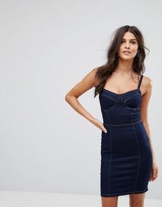 Джинсовое платье на тонких бретельках Parisian - Темно-синий