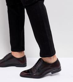 Бордовые кожаные оксфордские туфли для широкой стопы с вырезной отделкой ASOS - Красный
