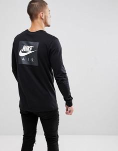 Черный лонгслив с принтом на рукавах Nike Air 893392-010 - Черный
