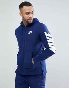 Худи темно-синего цвета на молнии с принтом Nike Hybrid 885945-429 - Темно-синий