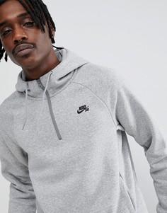 Худи серого цвета с короткой молнией Nike SB Icon 929147-064 - Серый