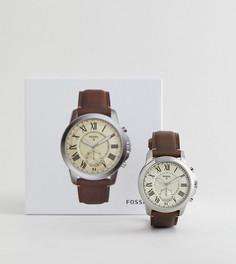 Гибридные смарт-часы с коричневым кожаным ремешком Fossil Q FTW1118 Grant - Коричневый