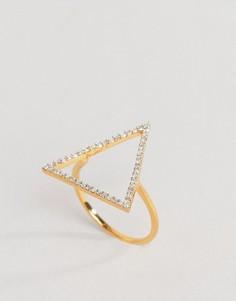 Кольцо с треугольным элементом и бриллиантами Carrie Elizabeth - Золотой