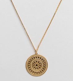 Ожерелье с золотистой подвеской-диском в ацтекском стиле Carrie Elizabeth - Серебряный